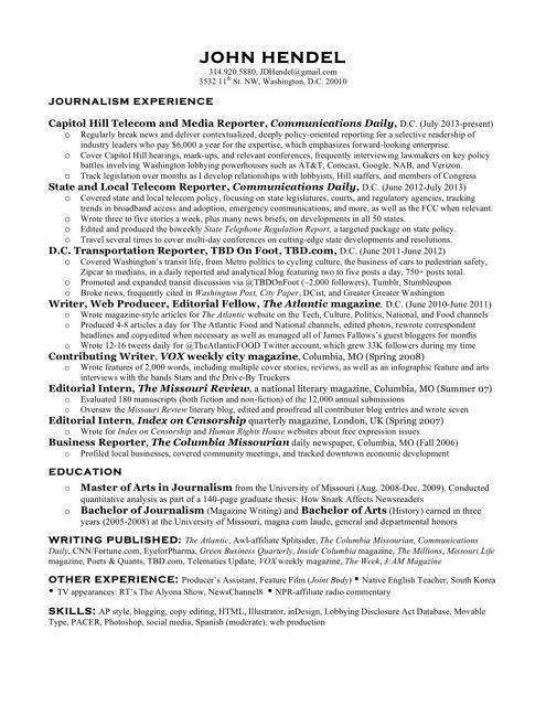 John Hendel's Resume